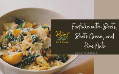 FARFALLE WITH BEETS, BEET GREENS AND PINE NUTS
