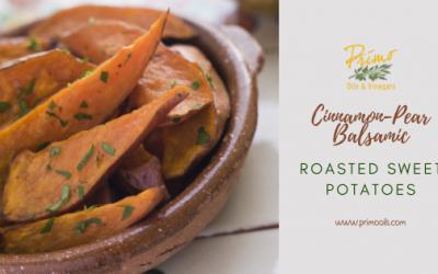 Recipe: Cinnamon-Pear Balsamic Roasted Sweet Potatoes