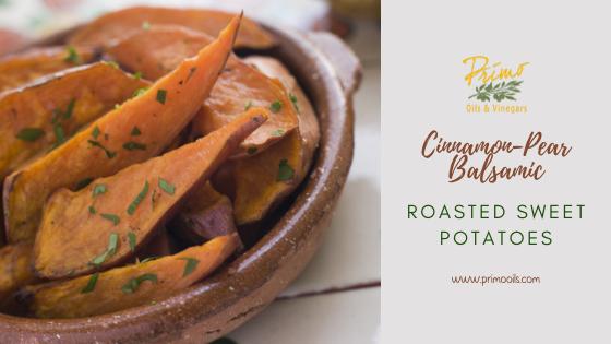 Cinnamon-Pear Balsamic Roasted Sweet Potatoes